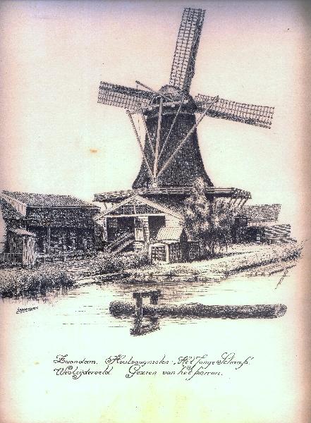 R.J.Ouwejan tekening Jonge Schaap tegen over stationstraat Zaandam